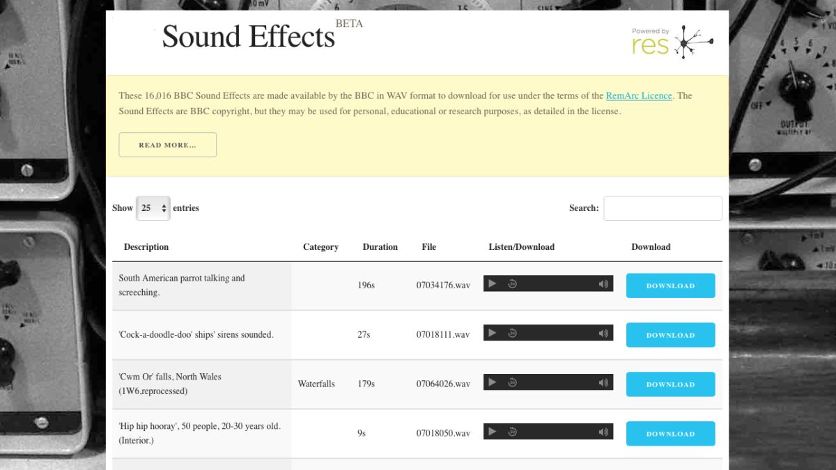 The BBC is letting you download more than 16,000 free sound effect samples