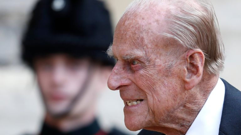 Prince Philip reacts with rage, Duke of Edinburgh passes a bugler during the transfer of the Colonel-in-Chief of The Rifles at Windsor castle on July 22, 2020 in Windsor, England.