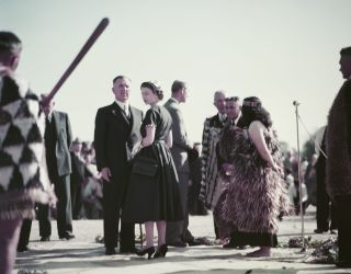 Queen Elizabeth II at Ngaruawahia, New Zealand, during her coronation world tour, 30th December 1953