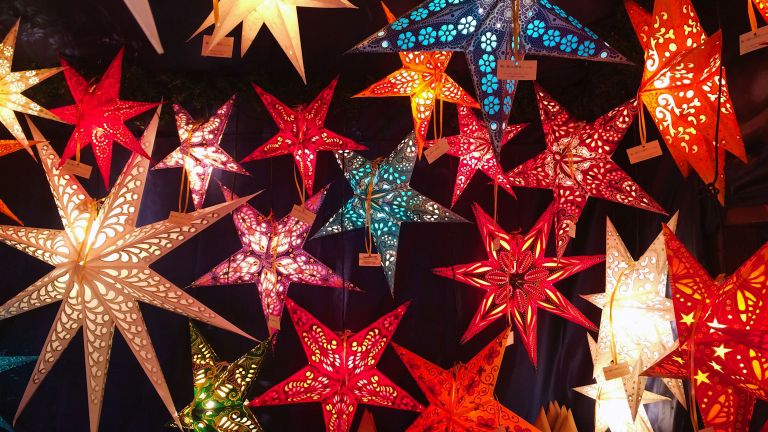 star shaped lanterns in various colours by getty images