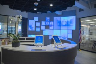 World Wide Technology's Innovation Center dazzles visitors with a mosaic LCD video wall driven by RGB Spectrum's Galileo 4K video wall processor.