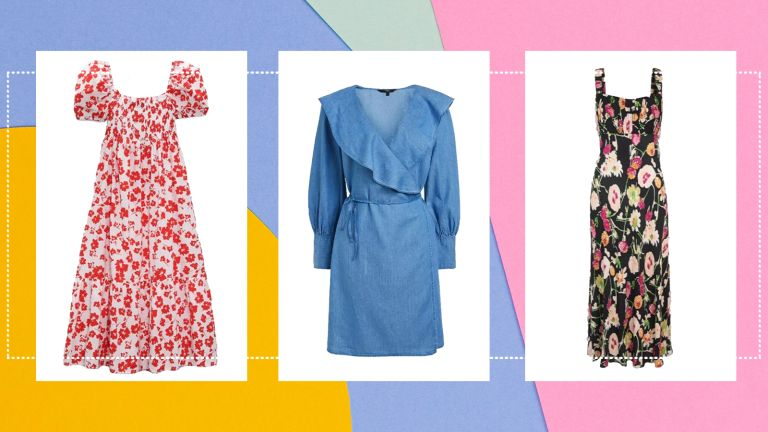 collage of three of the best dresses to hide a tummy