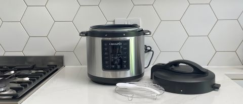 Crock-Pot Express with accessories on a kitchen countertop