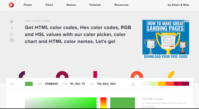 HTML Color Code download screen