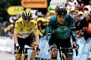 Franck Bonnamour (B&B Hotels) leads Tour de France leader Tadej Pogacar to the line on stage 9