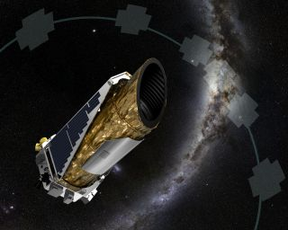 The artist's concept shows NASA's planet-hunting Kepler spacecraft operating in a new mission profile called K2.