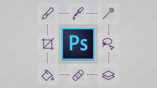 Photoshop logo surrounded by tool icons