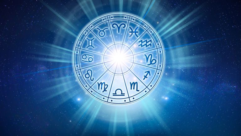 Zodiac signs inside of horoscope circle