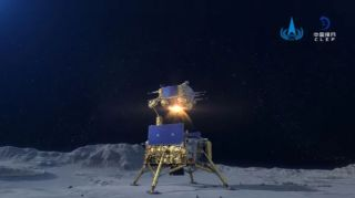 An artist's illustration of China's Chang'e 5 moon sample-return ascent vehicle lifting off from the lunar surface.