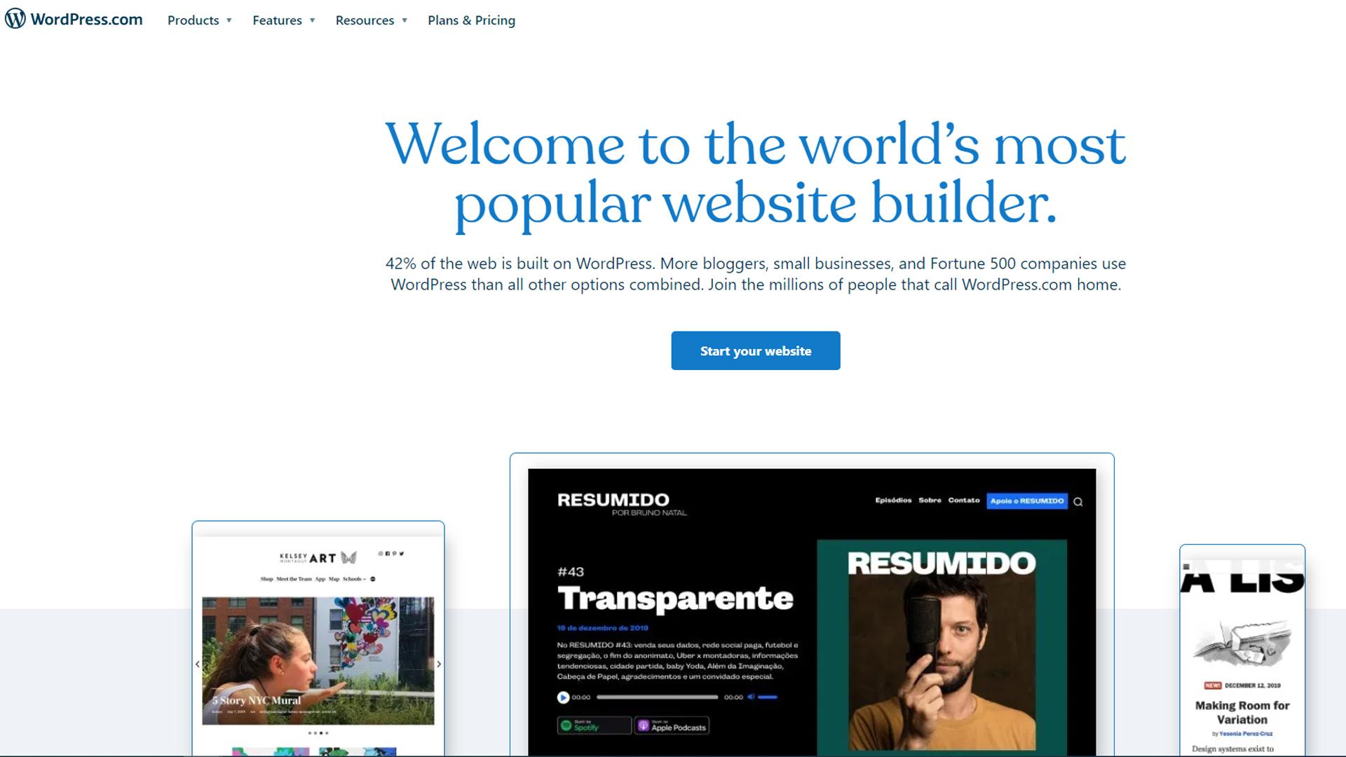 WordPress's homepage