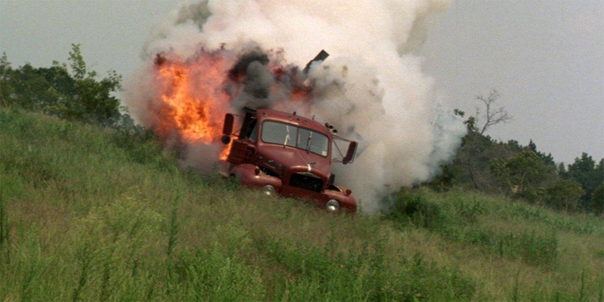Maximum Overdrive truck explodes down hill
