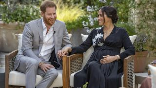 Prince Harry and wife Meghan Markle in their interview with Oprah Winfrey