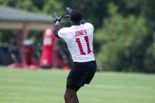 A football player's fingers may be predictive of his athletic ability. Here, Julio Jones during an Atlanta Falcon open practice in Georgia on June 14, 2017.