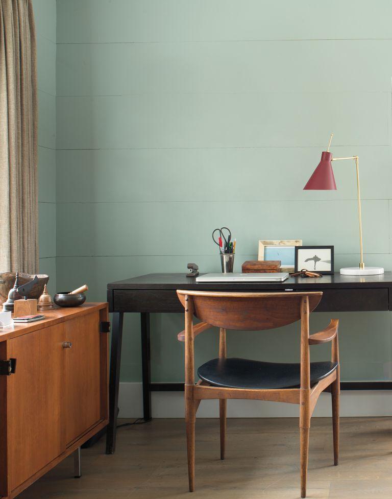 Best fibre broadband deals: Benjamin Moore paint in a home office