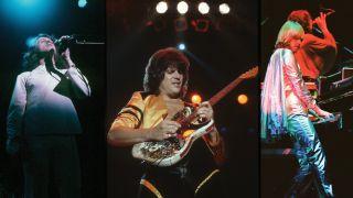 vintage composite of Jon Anderson, Trevor Rabin and Rick Wakeman