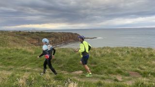 Anna Rutherford runs Southern upland way with support runner Richard edge