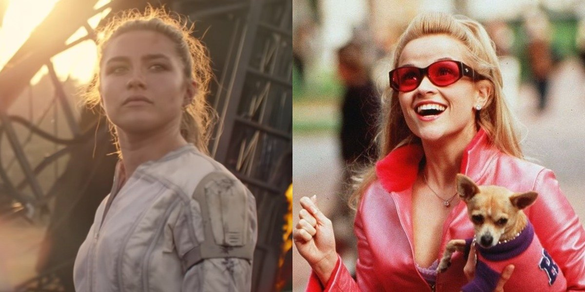 Florence Pugh in Black Widow and Reese Witherspoon as Elle Woods in Legally Blonde