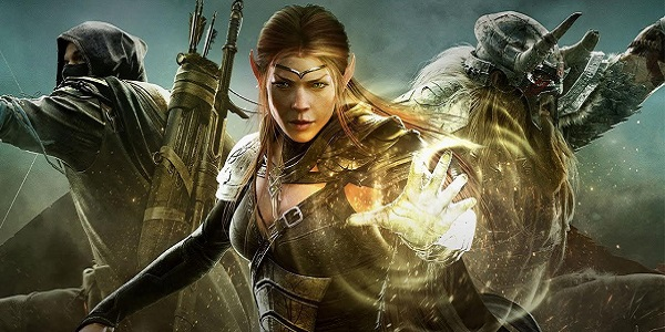 A trio of warriors stand at the ready in The Elder Scrolls Online.