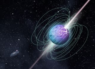 An illustration of a magnetar -- the highly magnetized corpse of a collapsed star -- bursting with energy. Scientists think they could be responsible for fast radio bursts (FRB)