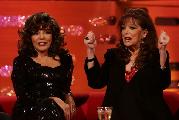 Joan (left) and Jackie Collins during the filming of the New Year's Eve Graham Norton Show