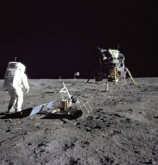 Neil Armstrong and Buzz Aldrin on the moon for the Apollo 11 mission.