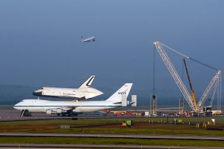 NASA's prototype space shuttle Enterprise sits atop its carrier aircraft on April 20, 2012.