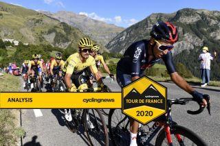 Race leader Julian Alaphilippe (Deceuninck-QuickStep) follows defending champion Egan Bernal (Ineos Grenadiers) during stage 4 of the 2020 Tour de France