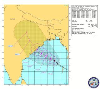Tropical Cyclone Phailin forecast path