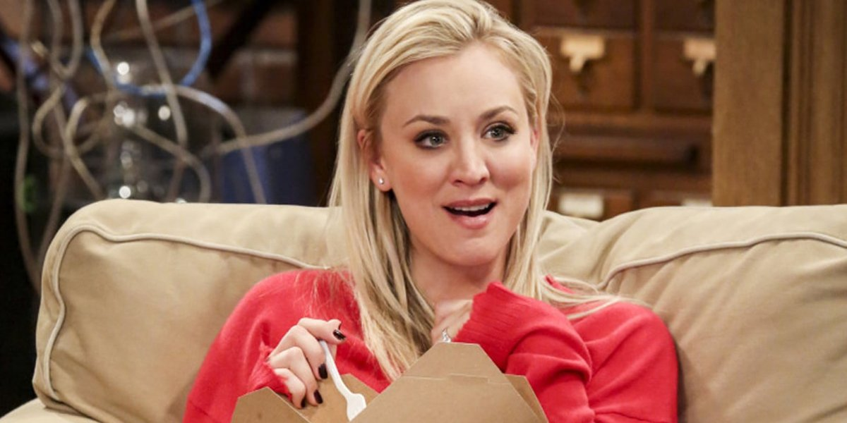 Kaley Cuoco smiles in surprise as Penny in The Big Bang Theory CBS