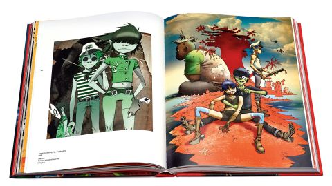 Book spread with illustrations from the Gorillaz video On Melancholy Hill