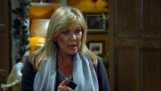 Kim Tate is furious in Emmerdale