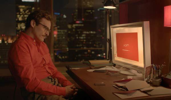 Joaquin Phoenix's Theodore talking to Scarlett Johansson's Samantha in Her