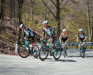 Simon Yates and his BikeExchange teammates study the Sega di Ala stage of the Giro d'Italia