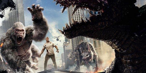 big animals clash dwayne johnson the rock Rampage movie