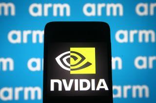 Nvidia logo on Arm background