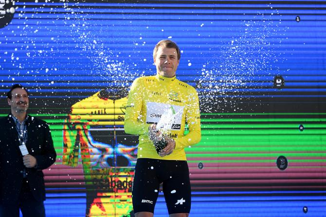 Edvald Boasson Hagen (Dimension Data) takes the first leader's jersey at Volta a la Communitat Valenciana after winning the time trial