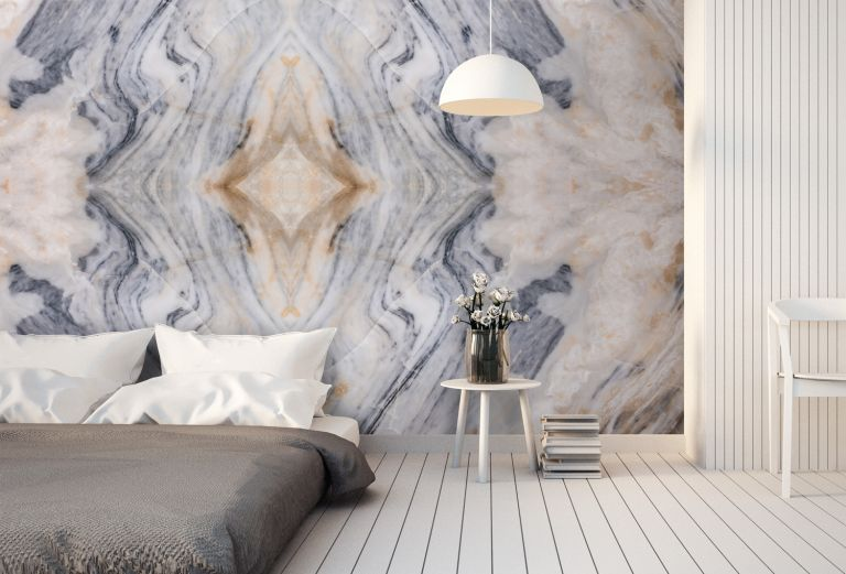 Marble mural by Wallsauce in a modern bedroom