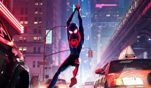 Spider-Man swinging through traffic in Into the Spider-Verse