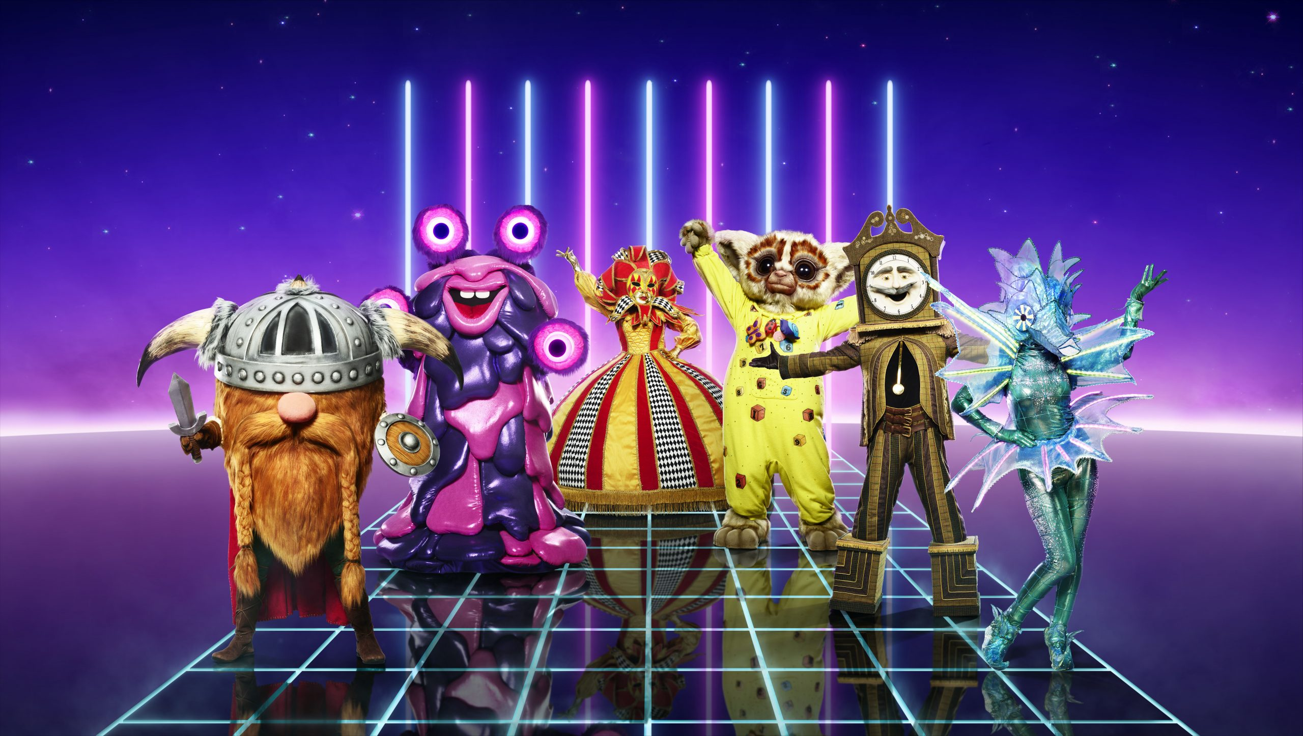 Masked Singer costumes Viking, Blob, Harlequin, Bushbaby, Grandfather Clock and Seahorse