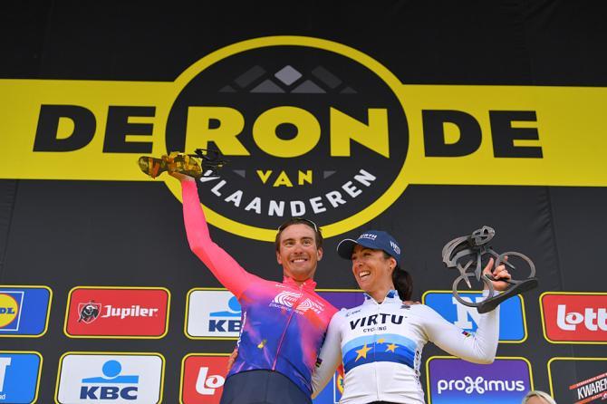 Alberto Bettiol (EF Education First) and Marta Bastianelli (Virtu) celebrates winning men's and women's Tour of Flanders