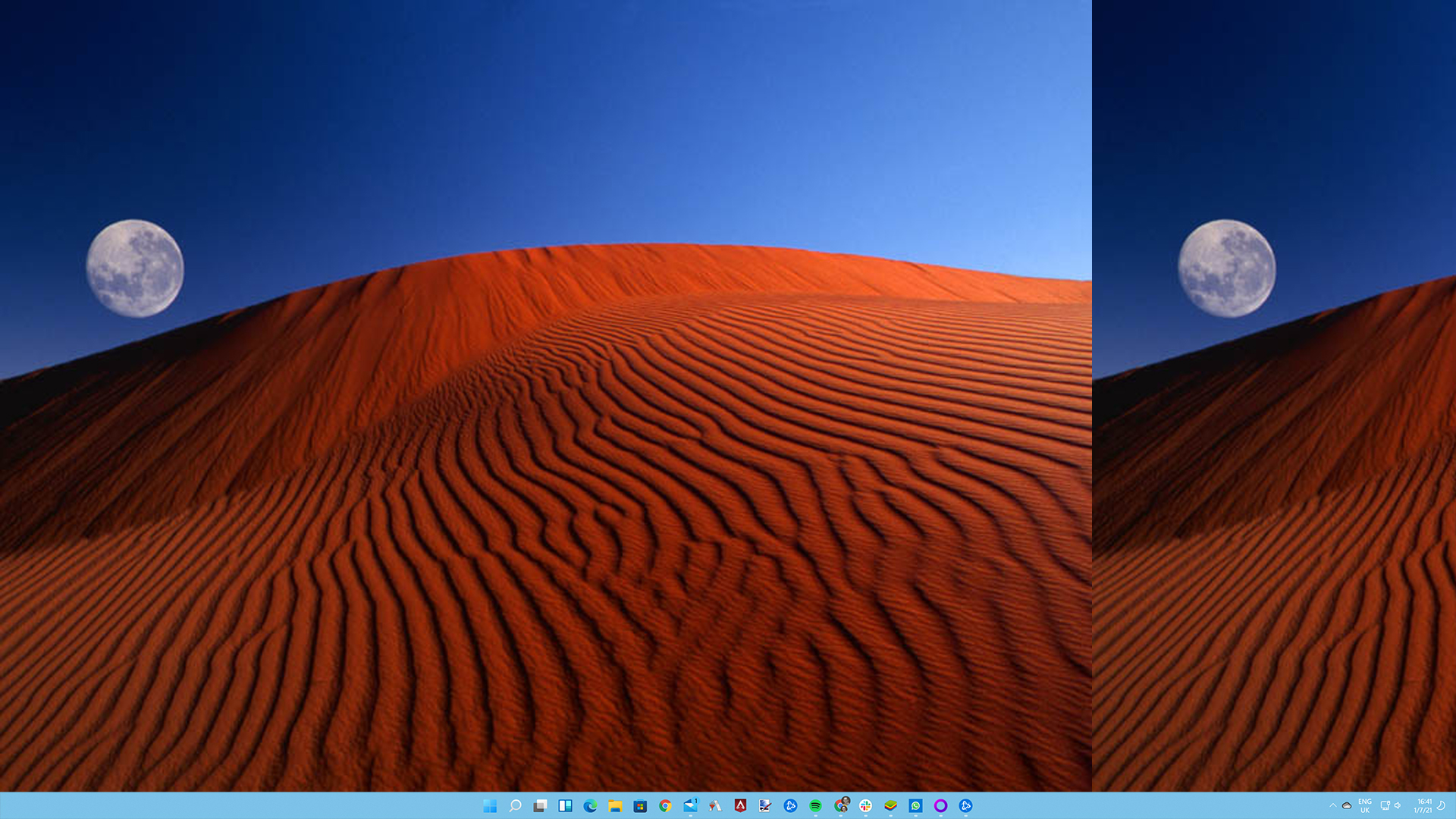 Microsoft Windows XP red moon desert wallpaper with red sand, the moon, and a blue sky