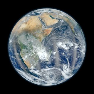 "This photo from NASA's Suomi NPP satellite shows the Eastern Hemisphere of Earth in ""Blue Marble"" view."