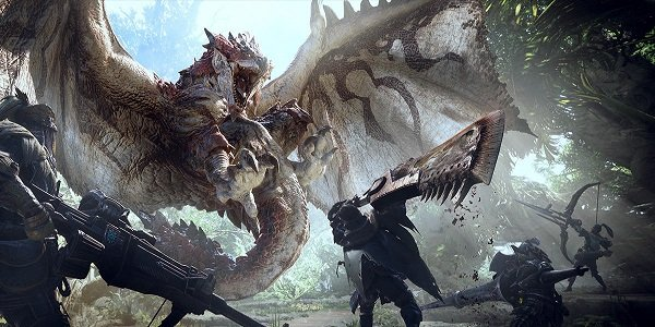 A dragon attacks in Monster Hunter: World.