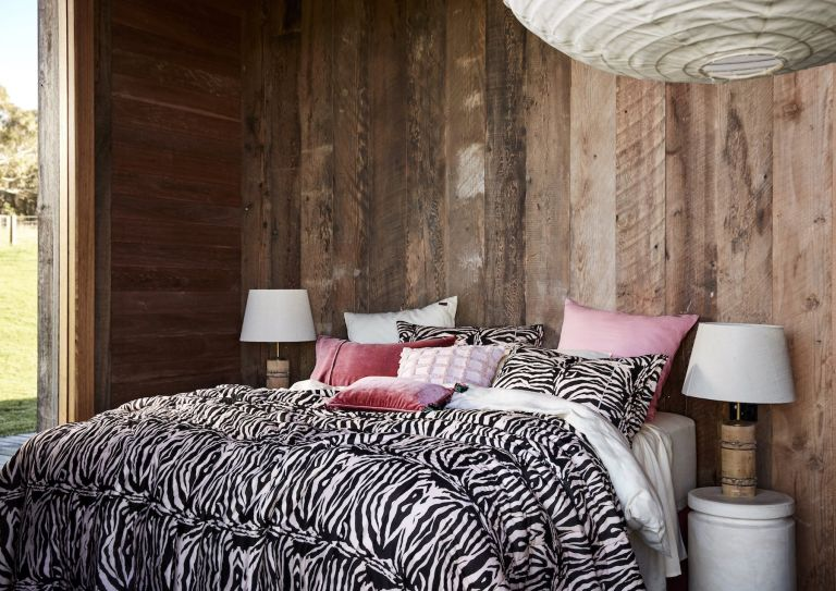 bedroom zebra bedlinen wood panelling animal print