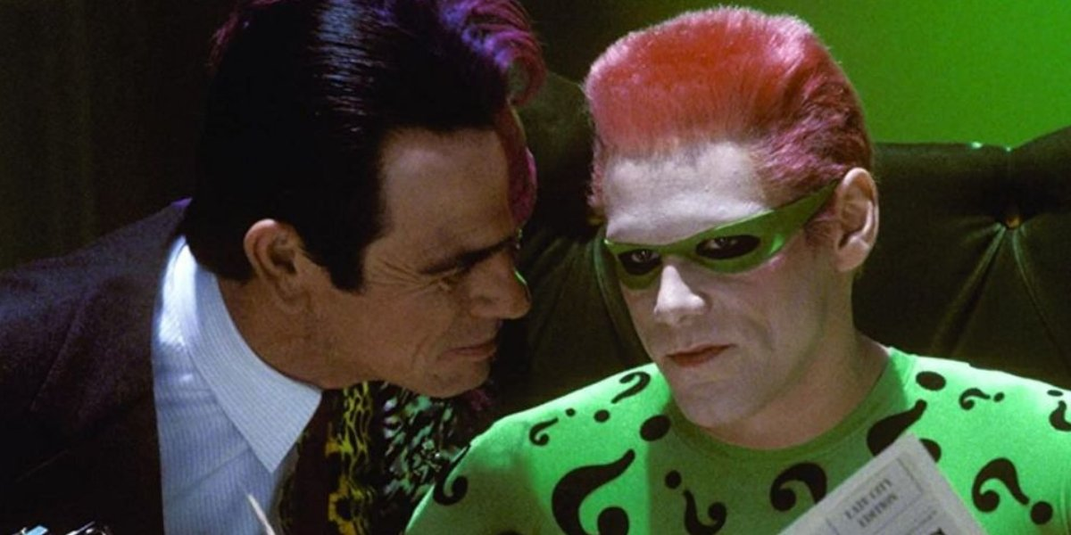 Tommy Lee Jones as Two-Face and Jim Carrey as The Riddler in Batman Forever