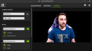 RTX broadcast software being used by a streamer
