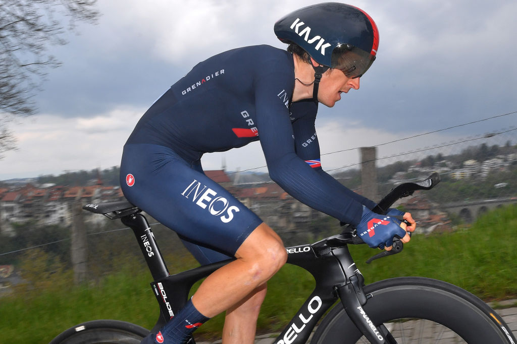 FRIBOURG SWITZERLAND MAY 02 Geraint Thomas of The United Kingdom and Team INEOS Grenadiers during the 74th Tour De Romandie 2021 Stage 5 a 1619km Individual Time Trial stage from Fribourg to Fribourg 614m ITT TDR2021 TDRnonstop UCIworldtour on May 02 2021 in Fribourg Switzerland Photo by Luc ClaessenGetty Images