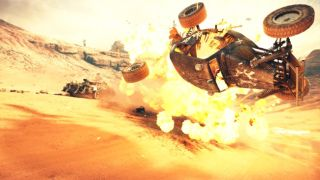 A car exploding in Mad Max