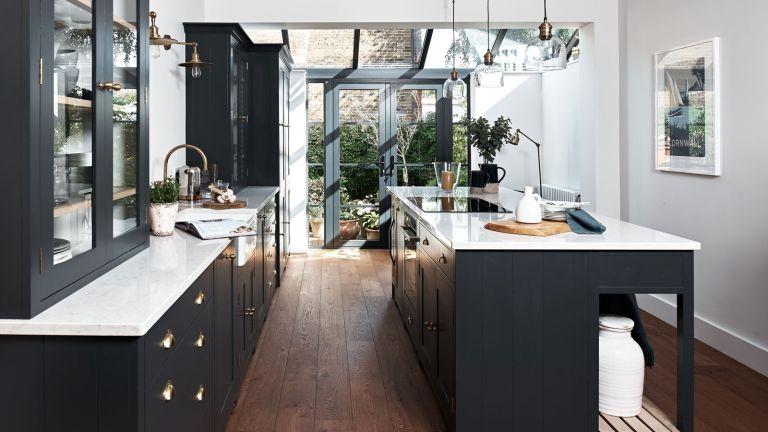 modern kitchen with island and white worktops