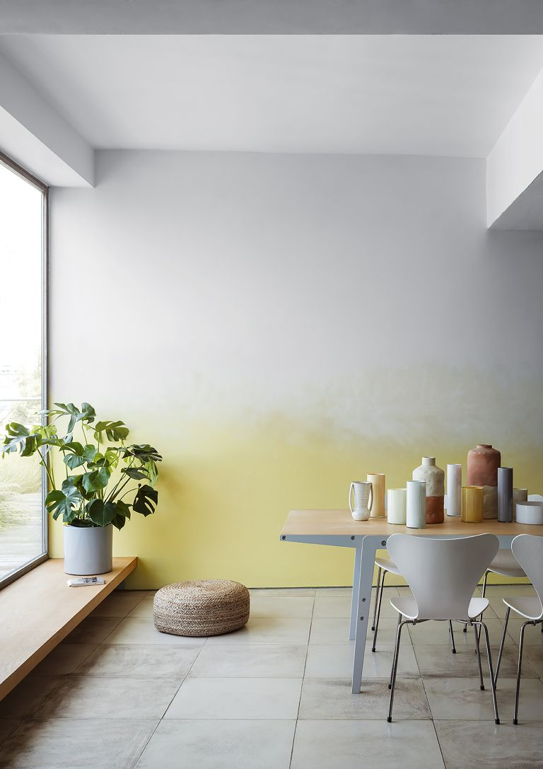 ombre paint effect white and yellow by crown paints